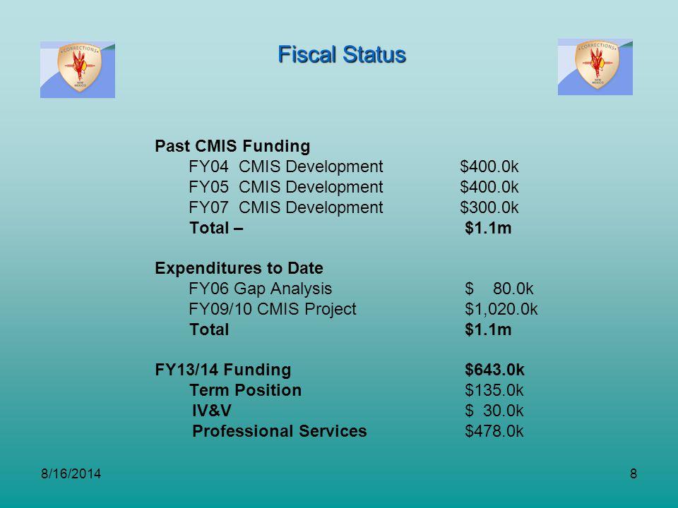 8/16/20148 Fiscal Status Past CMIS Funding FY04 CMIS Development$400.0k FY05 CMIS Development $400.0k FY07 CMIS Development$300.0k Total – $1.1m Expen