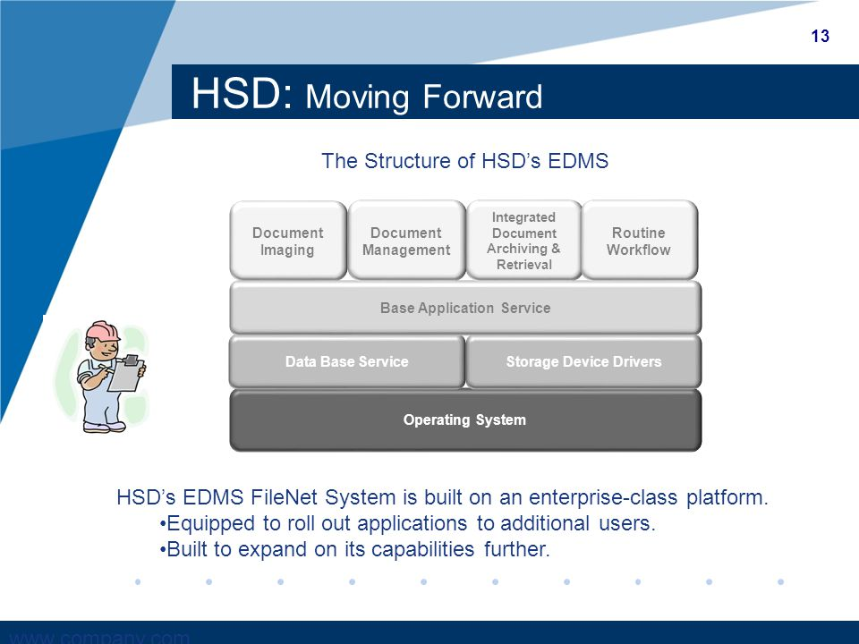 www.company.com HSD: Moving Forward HSD's EDMS FileNet System is built on an enterprise-class platform.