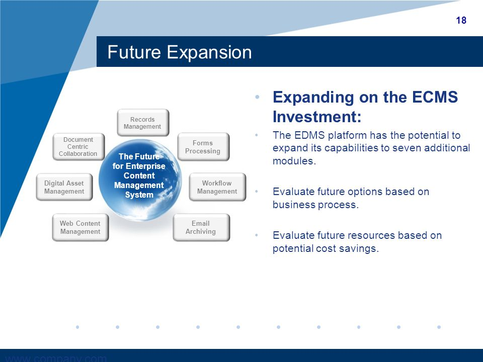 www.company.com Future Expansion The Future for Enterprise Content Management System Web Content Management Records Management Digital Asset Management Email Archiving Forms Processing Workflow Management Document Centric Collaboration 18 Expanding on the ECMS Investment: The EDMS platform has the potential to expand its capabilities to seven additional modules.