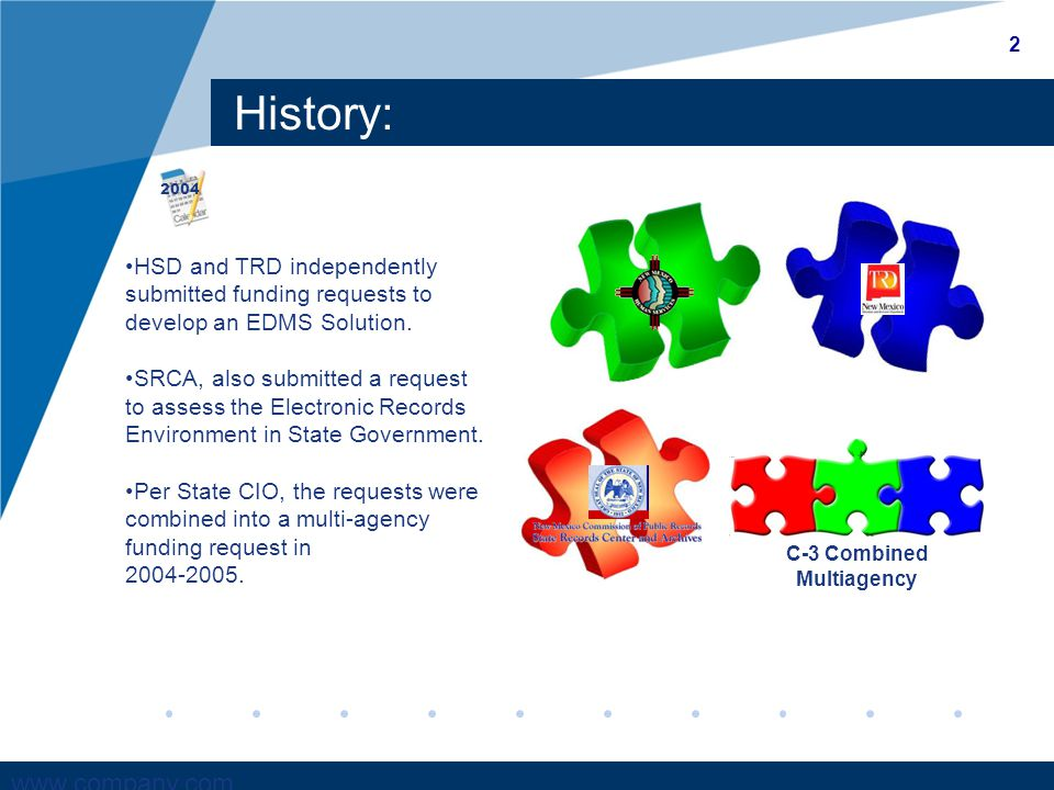www.company.com History: HSD and TRD independently submitted funding requests to develop an EDMS Solution.