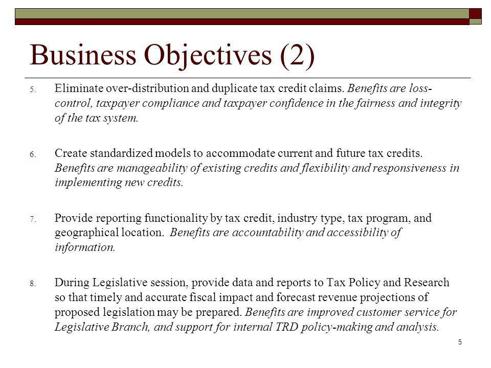 Business Objectives (2) 5.Eliminate over-distribution and duplicate tax credit claims.