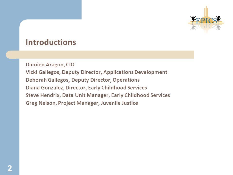 Introductions Damien Aragon, CIO Vicki Gallegos, Deputy Director, Applications Development Deborah Gallegos, Deputy Director, Operations Diana Gonzale