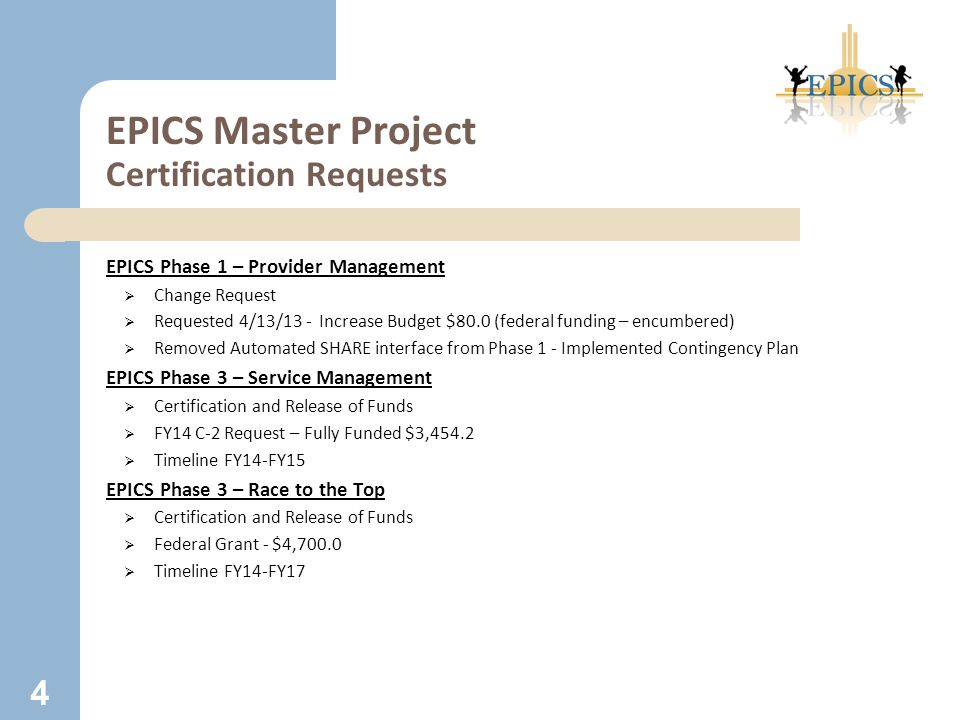 EPICS Master Project Certification Requests EPICS Phase 1 – Provider Management  Change Request  Requested 4/13/13 - Increase Budget $80.0 (federal