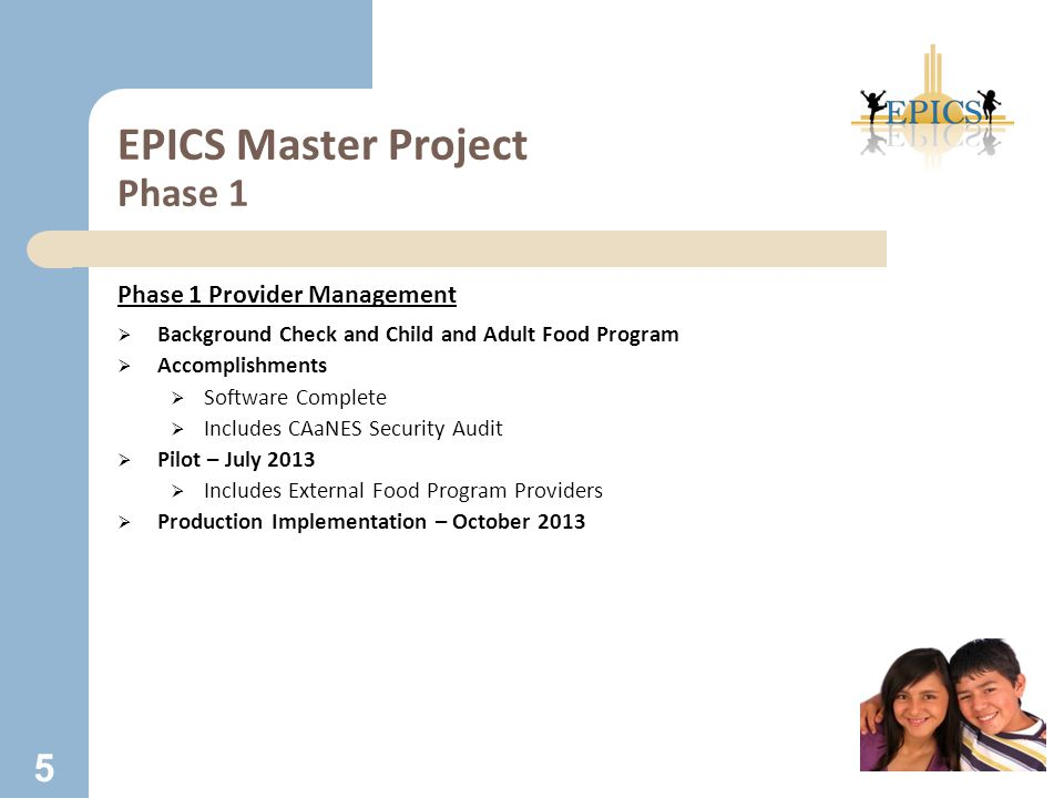 EPICS Master Project Phase 1 Phase 1 Provider Management  Background Check and Child and Adult Food Program  Accomplishments  Software Complete  I