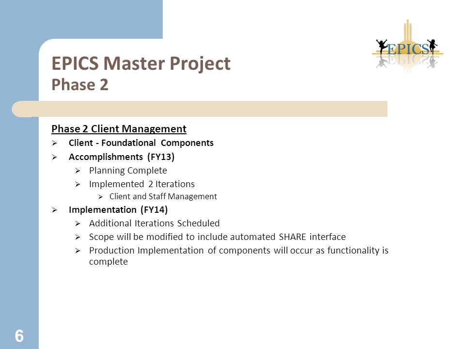 EPICS Master Project Phase 2 Phase 2 Client Management  Client - Foundational Components  Accomplishments (FY13)  Planning Complete  Implemented 2 Iterations  Client and Staff Management  Implementation (FY14)  Additional Iterations Scheduled  Scope will be modified to include automated SHARE interface  Production Implementation of components will occur as functionality is complete 6