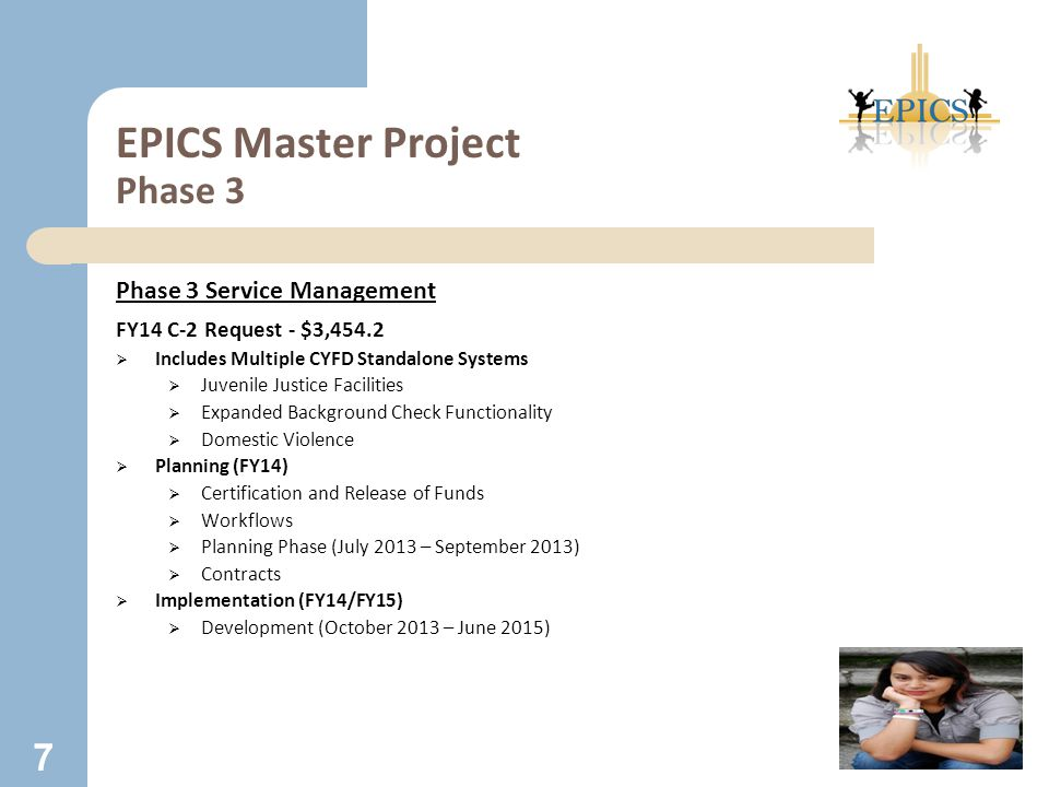 EPICS Master Project Phase 3 Phase 3 Service Management FY14 C-2 Request - $3,454.2  Includes Multiple CYFD Standalone Systems  Juvenile Justice Fac
