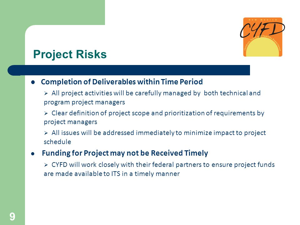 Project Risks Completion of Deliverables within Time Period  All project activities will be carefully managed by both technical and program project m