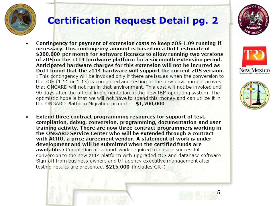 5 Certification Request Detail pg.