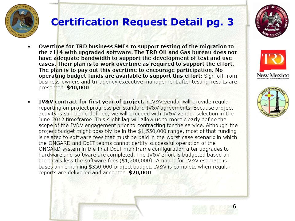 6 Certification Request Detail pg.