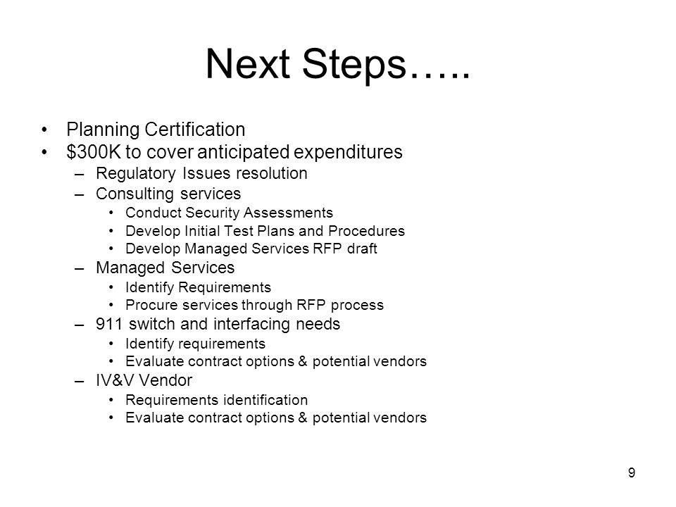 9 Next Steps…..