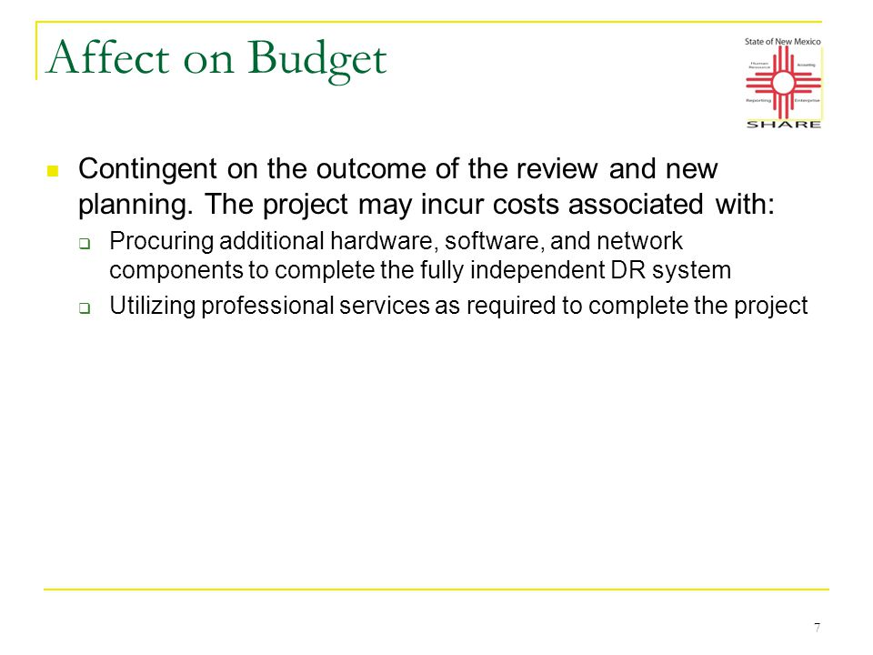 Affect on Budget Contingent on the outcome of the review and new planning.