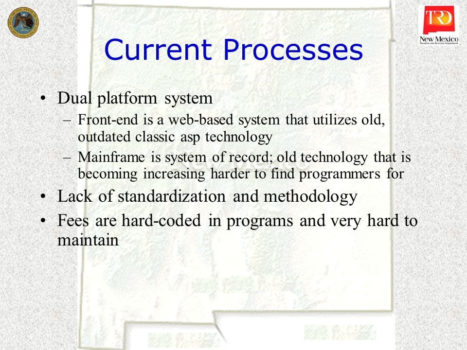 Current Processes Dual platform system –Front-end is a web-based system that utilizes old, outdated classic asp technology –Mainframe is system of rec