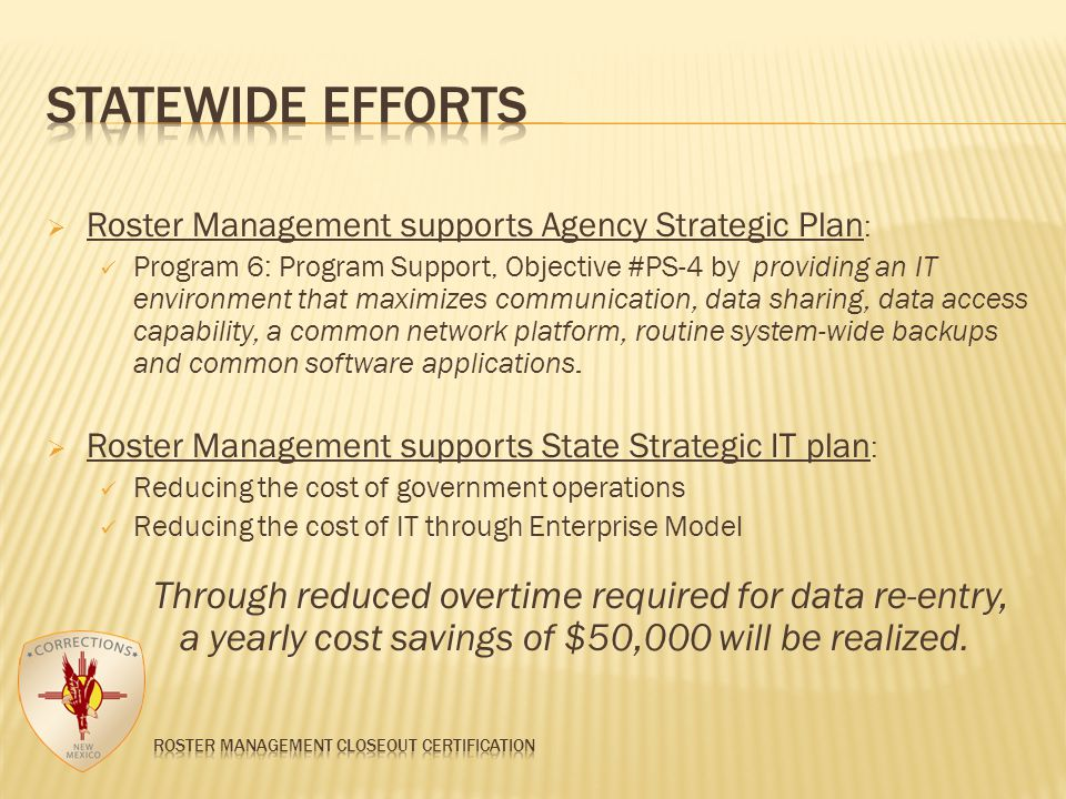  Roster Management supports Agency Strategic Plan : Program 6: Program Support, Objective #PS-4 by providing an IT environment that maximizes communication, data sharing, data access capability, a common network platform, routine system-wide backups and common software applications.