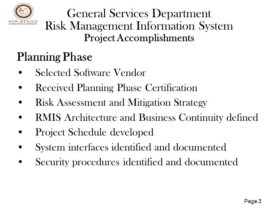 Page 4 General Services Department Risk Management Information System