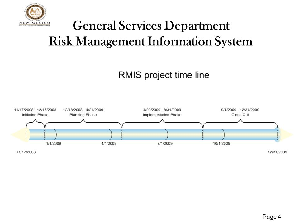 Page 5 General Services Department Risk Management Information System Project Tasks Implementation Phase Select and Execute Contract for IV&V Vendor Purchase and Install Backup Hardware Develop/Build Environment Production/Test/Development/Training/Reports Migrate Database to SQL2005 Deploy Production Software UAT Train Customer Acceptance Sign off Production Cutover Transition to Operations
