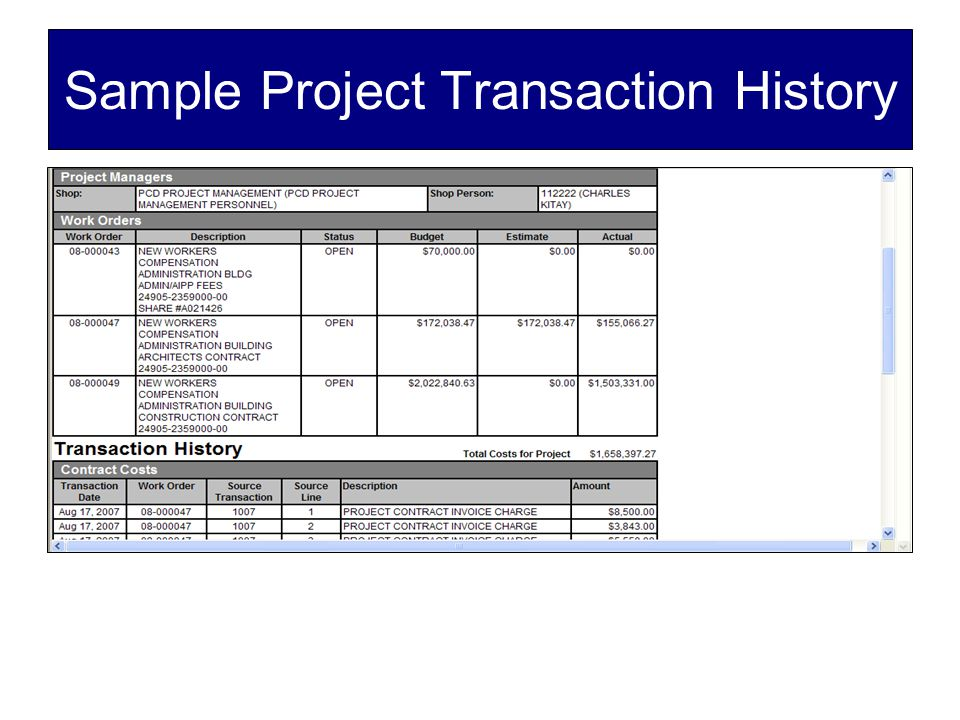 Sample Project Transaction History