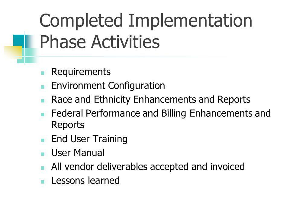 Completed Implementation Phase Activities Requirements Environment Configuration Race and Ethnicity Enhancements and Reports Federal Performance and Billing Enhancements and Reports End User Training User Manual All vendor deliverables accepted and invoiced Lessons learned