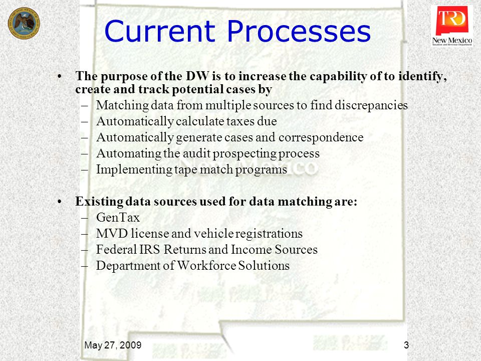 Initiation Phase Status Develop contractual requirements for external data loads and weight-distance sub-projects –Analysis of specific data loads in process Develop contract based on requirements –Contract in review Develop project management plan Determine required hardware/software –Quotes received and architectural review in progress Execute IV&V contract May 27, 2009 4