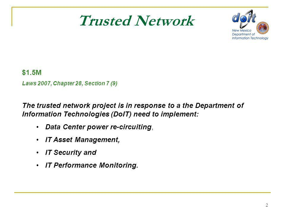 2 Trusted Network $1.5M Laws 2007, Chapter 28, Section 7 (9) The trusted network project is in response to a the Department of Information Technologies (DoIT) need to implement: Data Center power re-circuiting, IT Asset Management, IT Security and IT Performance Monitoring.