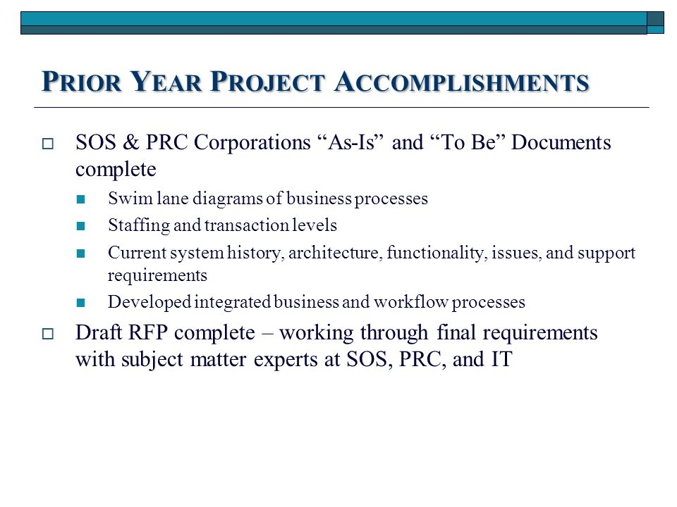 P RIOR Y EAR P ROJECT A CCOMPLISHMENTS  CaAnes Security Assessment complete Most vulnerabilities are do to age of legacy systems, ie SOSKB Some vulnerabilities are in hosted systems, ie CFIS, WWW – will work with vendor to rectify these issues Security experts assisted with architecture model and PCI compliance for public facing systems moving forward