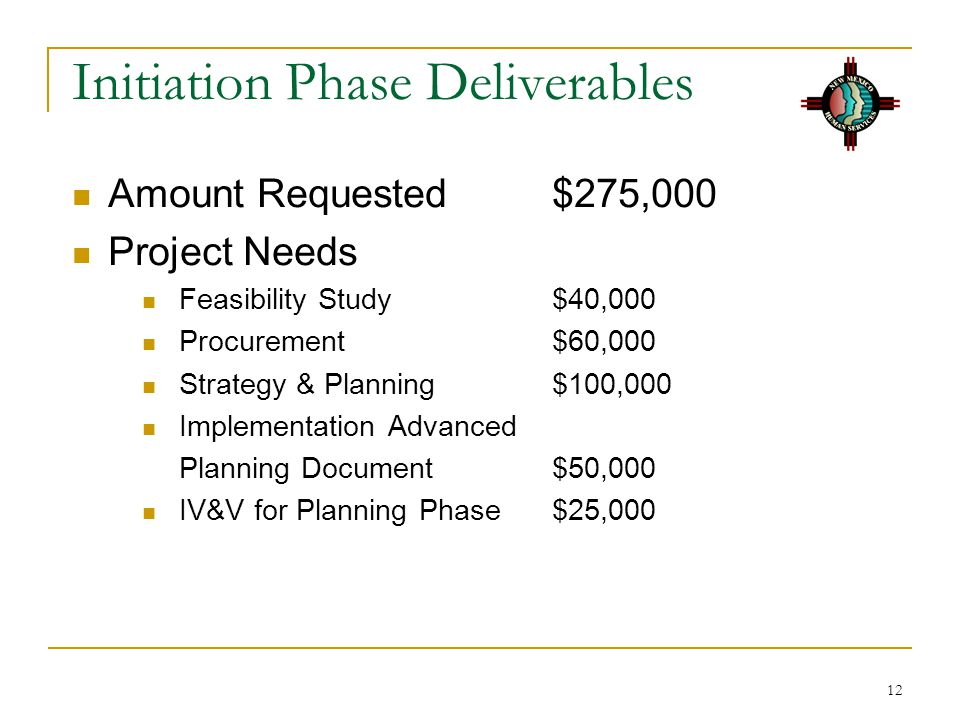 12 Initiation Phase Deliverables Amount Requested$275,000 Project Needs Feasibility Study$40,000 Procurement $60,000 Strategy & Planning$100,000 Implementation Advanced Planning Document$50,000 IV&V for Planning Phase$25,000