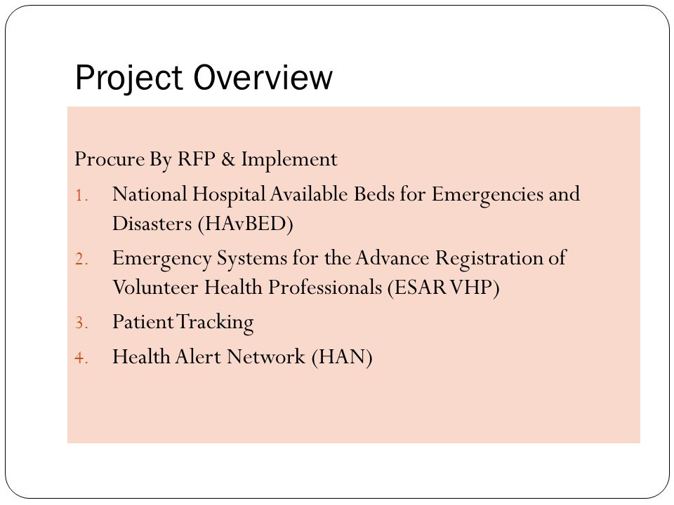 Project Overview Procure By RFP & Implement 1.