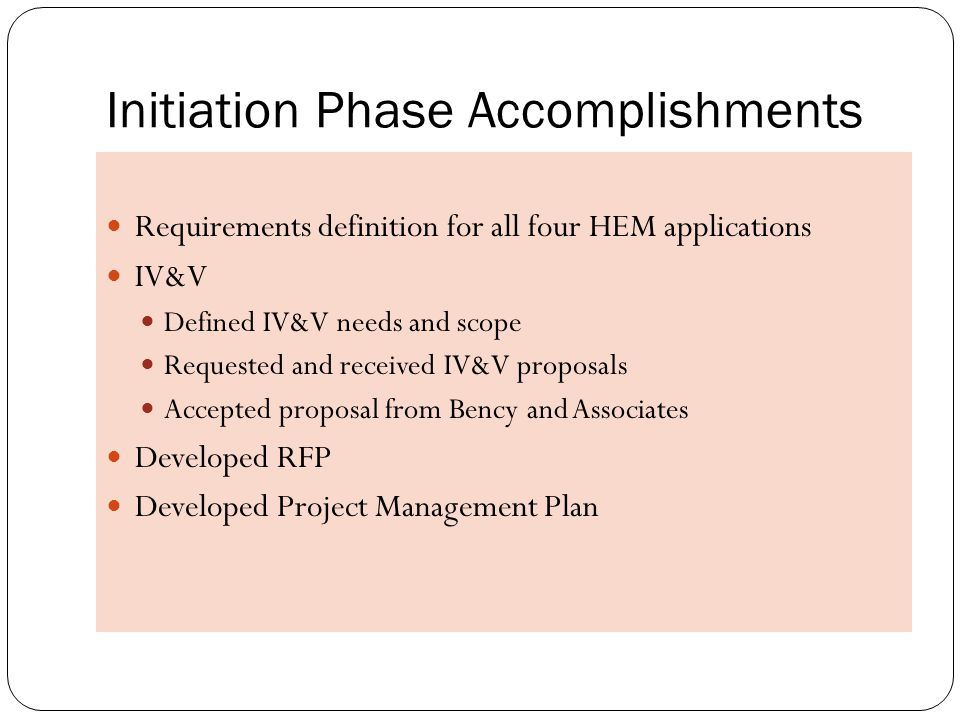 Initiation Phase Accomplishments Requirements definition for all four HEM applications IV&V Defined IV&V needs and scope Requested and received IV&V proposals Accepted proposal from Bency and Associates Developed RFP Developed Project Management Plan