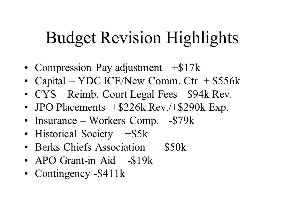 Budget Revision Highlights Compression Pay adjustment +$17k Capital – YDC ICE/New Comm.