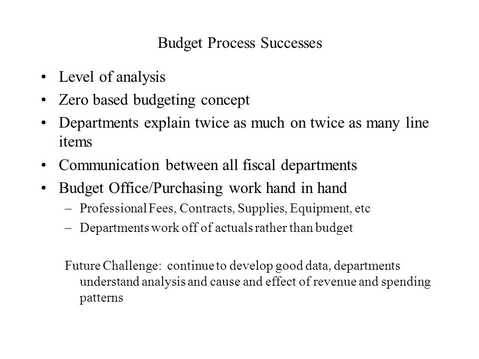 Budget Process Successes Level of analysis Zero based budgeting concept Departments explain twice as much on twice as many line items Communication between all fiscal departments Budget Office/Purchasing work hand in hand –Professional Fees, Contracts, Supplies, Equipment, etc –Departments work off of actuals rather than budget Future Challenge: continue to develop good data, departments understand analysis and cause and effect of revenue and spending patterns