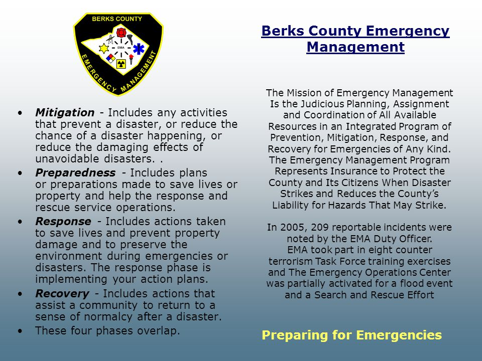 Berks County Emergency Management Mitigation - Includes any activities that prevent a disaster, or reduce the chance of a disaster happening, or reduce the damaging effects of unavoidable disasters..