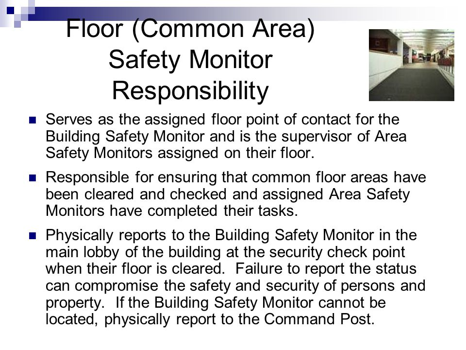 Floor (Common Area) Safety Monitor Responsibility Serves as the assigned floor point of contact for the Building Safety Monitor and is the supervisor