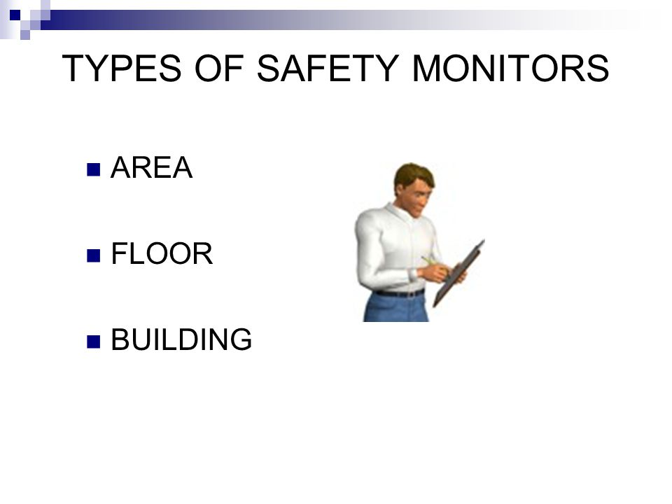 TYPES OF SAFETY MONITORS AREA FLOOR BUILDING