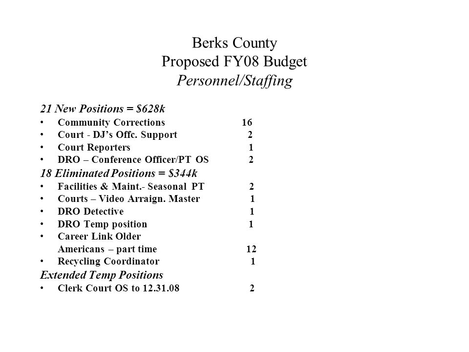 Berks County Proposed FY08 Budget Personnel/Staffing 21 New Positions = $628k Community Corrections 16 Court - DJ's Offc.