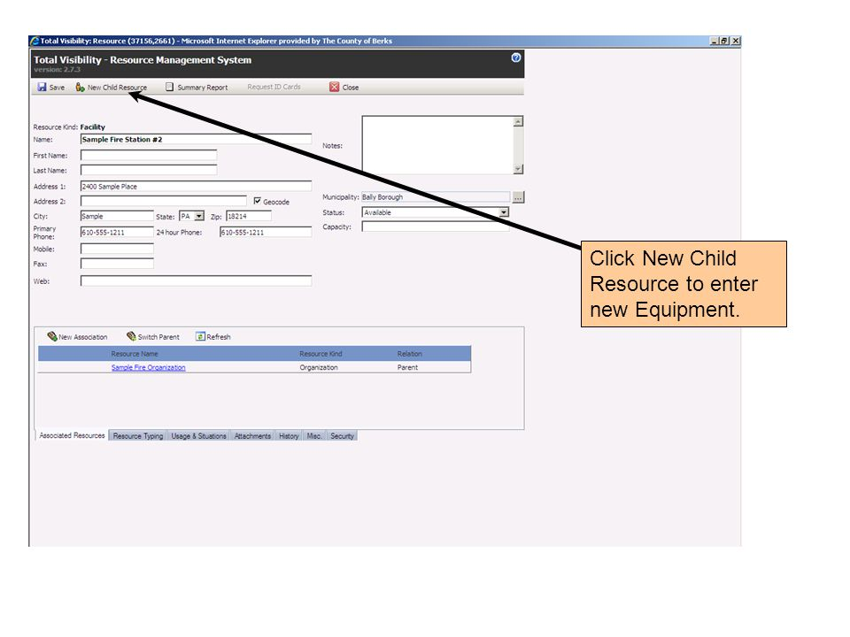 Click New Child Resource to enter new Equipment.
