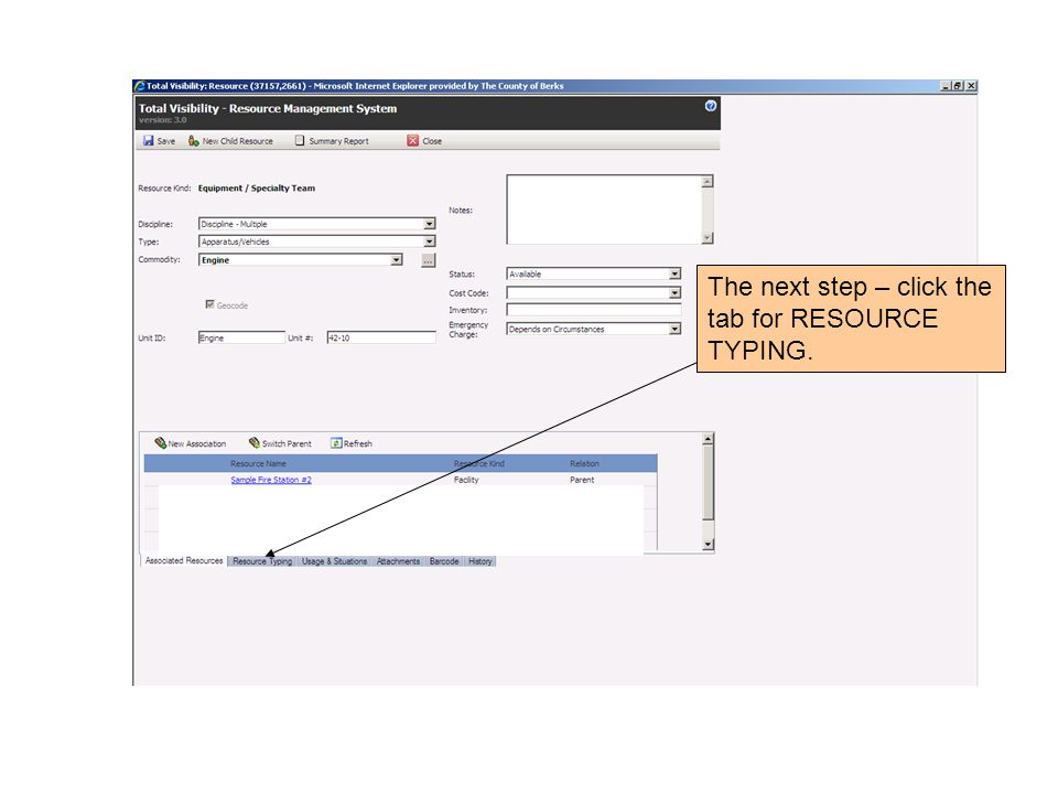 The next step – click the tab for RESOURCE TYPING.