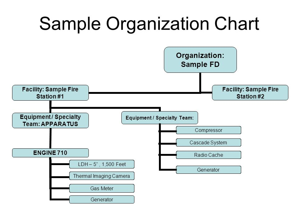 Sample Organization Chart LDH – 5 , 1,500 Feet Thermal Imaging Camera Gas Meter Generator Compressor Cascade System Radio Cache Generator