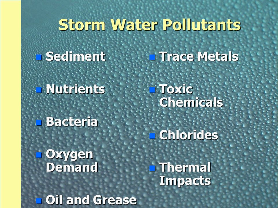 Storm Water Pollutants n Sediment n Nutrients n Bacteria n Oxygen Demand n Oil and Grease n Trace Metals n Toxic Chemicals n Chlorides n Thermal Impacts