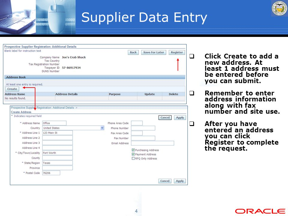 4 Supplier Data Entry  Click Create to add a new address.