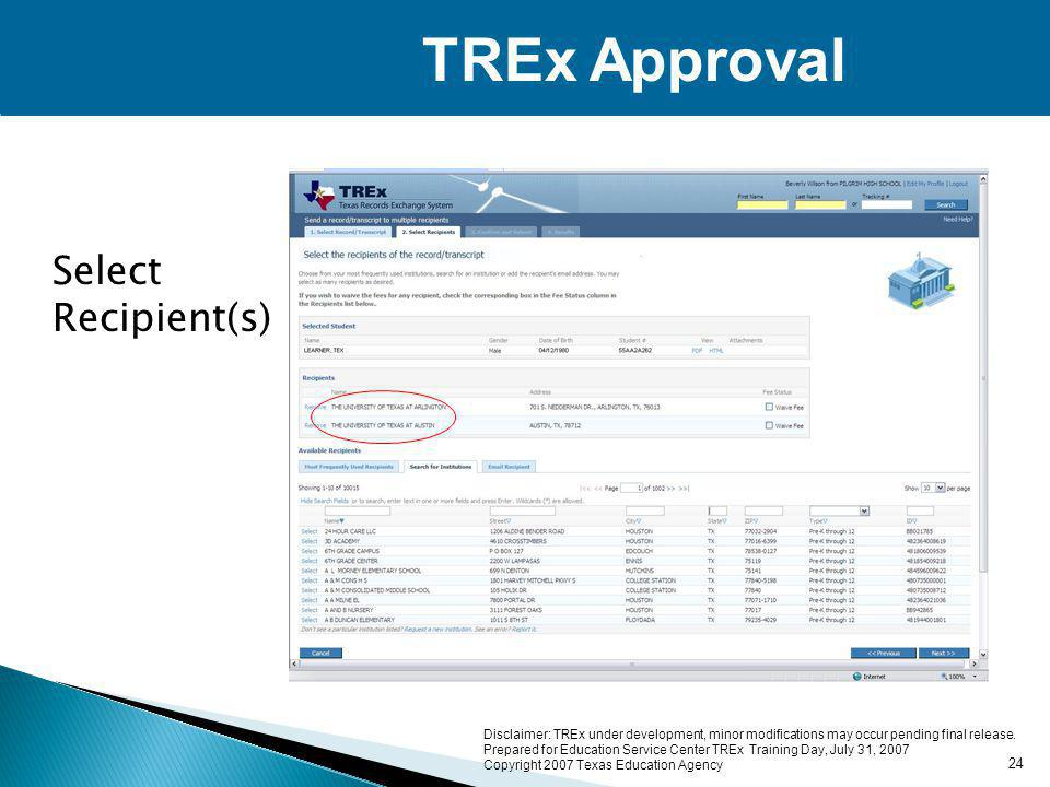 Disclaimer: TREx under development, minor modifications may occur pending final release.