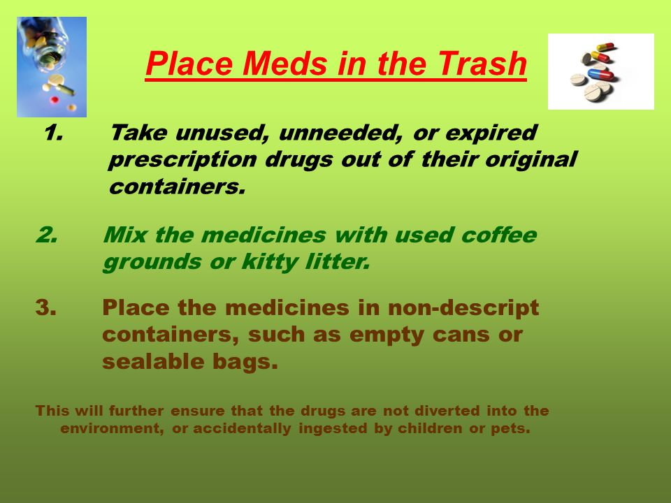 Place Meds in the Trash 1.