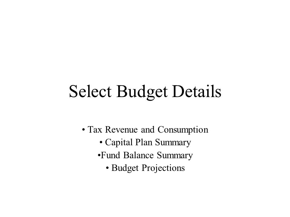 Select Budget Details Tax Revenue and Consumption Capital Plan Summary Fund Balance Summary Budget Projections