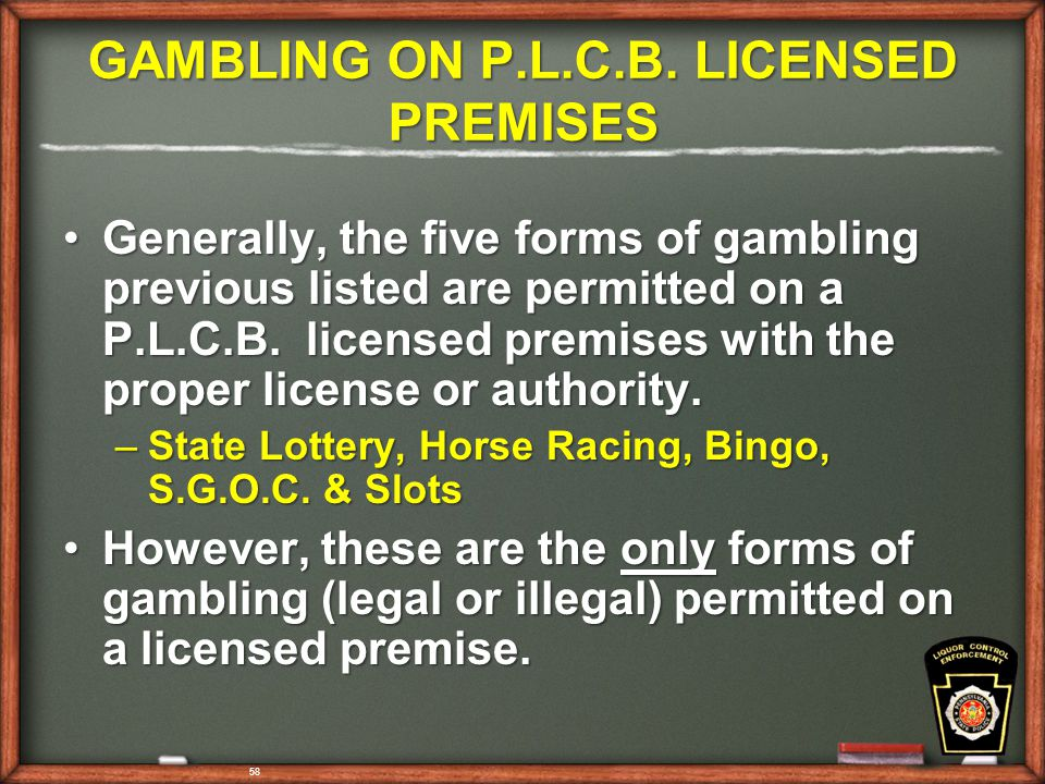 58 GAMBLING ON P.L.C.B.