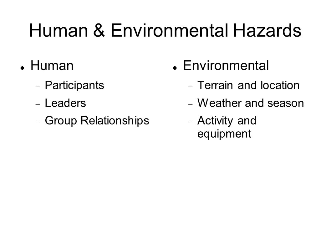 Human & Environmental Hazards Human  Participants  Leaders  Group Relationships Environmental  Terrain and location  Weather and season  Activity and equipment