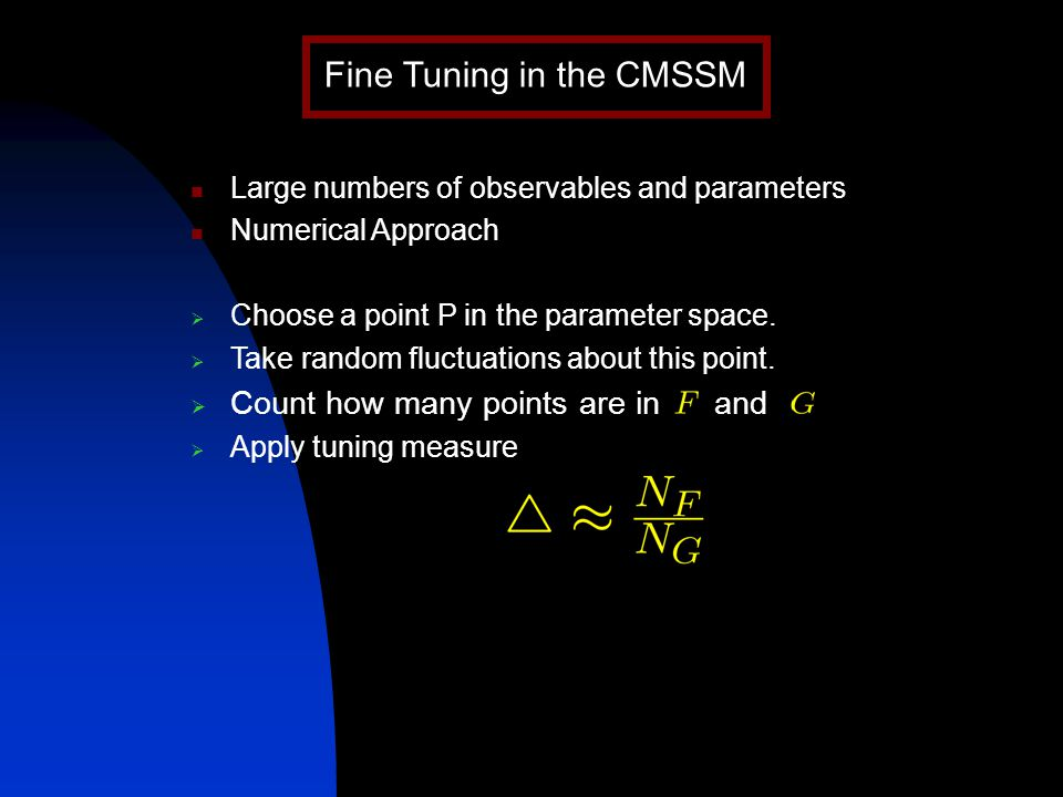 Large numbers of observables and parameters Numerical Approach  Choose a point P in the parameter space.