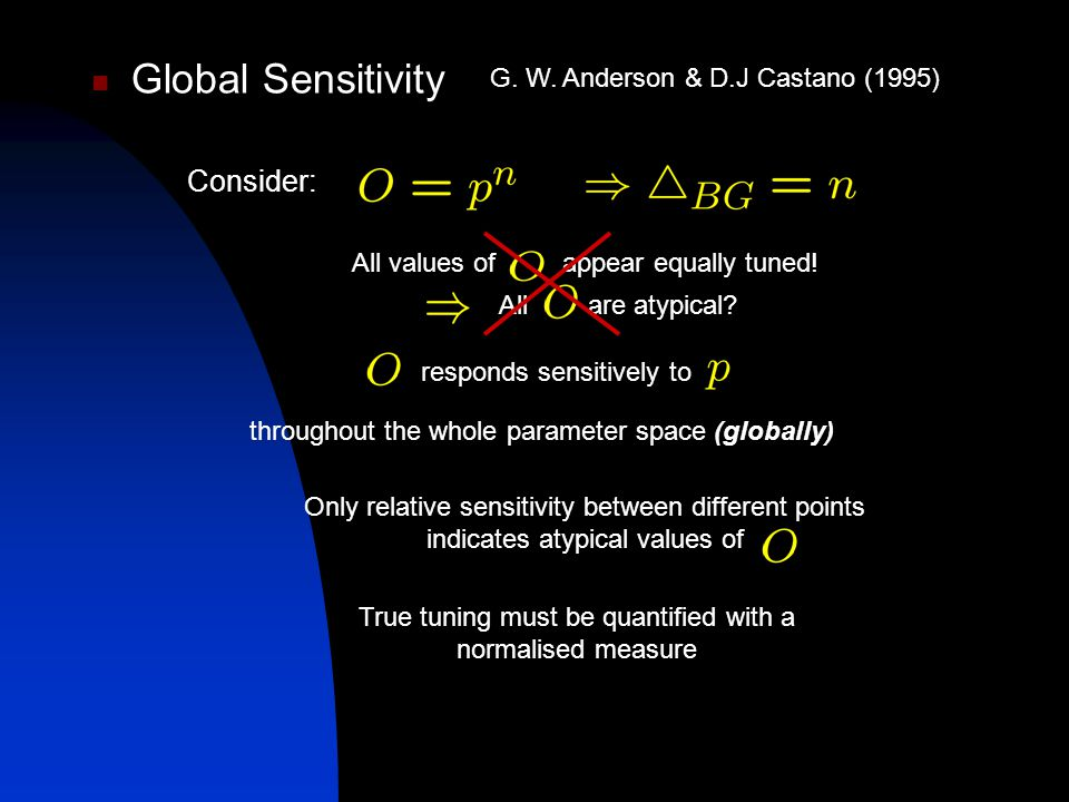 Global Sensitivity Consider: responds sensitively to All values of appear equally tuned.