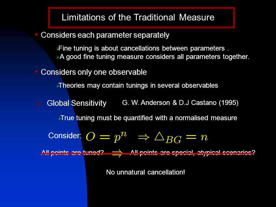 Limitations of the Traditional Measure  Considers each parameter separately  Fine tuning is about cancellations between parameters.