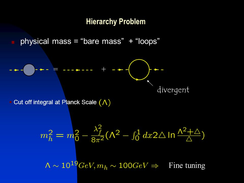 + physical mass = bare mass + loops =+ divergent  Cut off integral at Planck Scale Fine tuning Hierarchy Problem