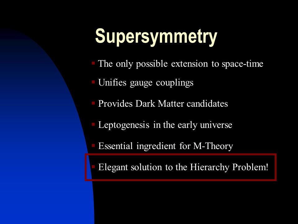 Supersymmetry  The only possible extension to space-time  Unifies gauge couplings  Provides Dark Matter candidates  Leptogenesis in the early universe  Elegant solution to the Hierarchy Problem.