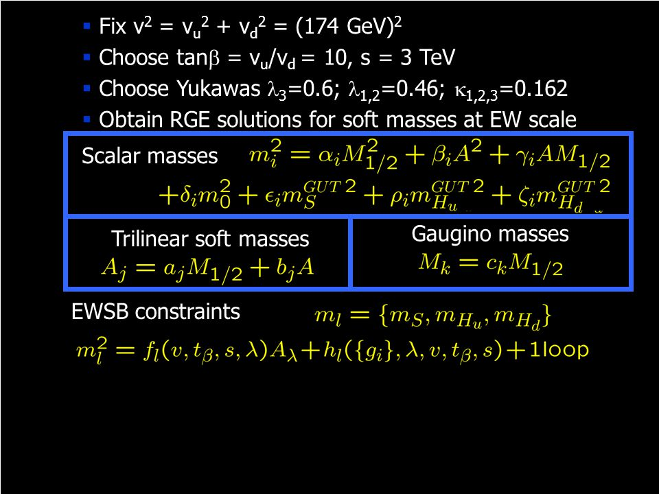 EWSB constraints Scalar masses Gaugino masses Trilinear soft masses Solutions must possess symmetry  Obtain RGE solutions for soft masses at EW scale
