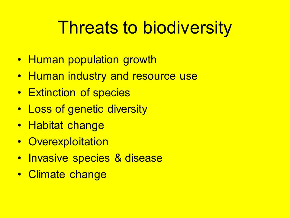 Threats to biodiversity Human population growth Human industry and resource use Extinction of species Loss of genetic diversity Habitat change Overexp
